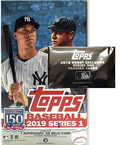 2019 Topps Series 1 MLB Baseball HOBBY box (24 pk, ONE Memorabilia or Autograph card & ONE bonus pk)
