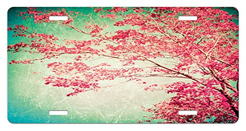 Vintage License Plate by Lunarable, Fall Foliage Pink Florets on Ancient Tree Branches Aged Grungy Nature Display, High Gloss Aluminum Novelty Plate, 5.88 L X 11.88 W Inches, Pink Mint (Fall Theme Personalized Mint)