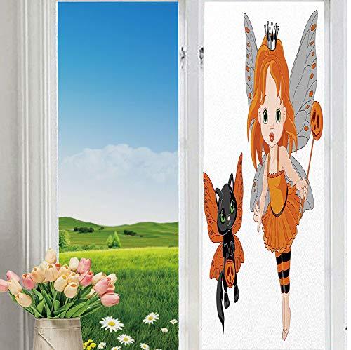 YOLIYANA The Shading Window Films Non-Toxic Halloween Halloween Baby Fairy and Her Cat in Costumes Butterflies Girls Kids Room Decor Decorative for Bathroom Bedroom 70