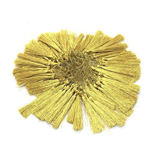 HUELE 100pcs Golden Silky Floss bookmark Tassels with Small Chinese Knot for Jewelry Making, Souvenir, Bookmarks, DIY Craft Accessory (13cm )