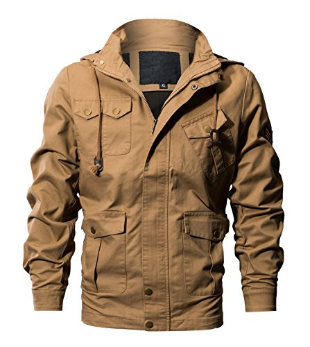 WULFUL Men's Cotton Military Jackets Casual Coat Outdoor Windbreaker Jacket with Removable Hood Khaki S (Best Mens Outdoor Coats)