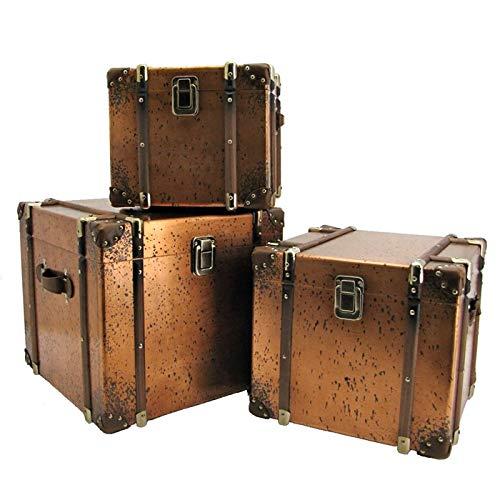 Zaer Ltd. Set of 3 Copper Finished Antique Trunks/Chests Home Decor Decoration Furniture from Zaer Ltd.