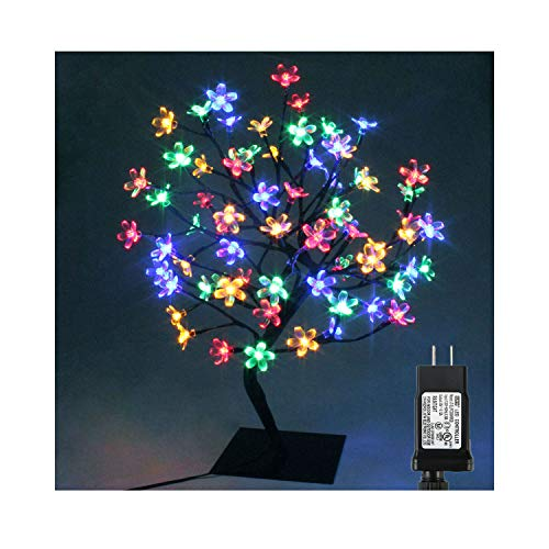 PMS Cherry Blossom Desk Top Bonsai Tree Light with Low Voltage Transformer, Ideal for Christmas, Party, Wedding, Ceremony, Celebration Decoration (90 LEDs, Multi Color-1)