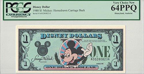 Disney Dollar 1988 $1 Mickey Mouse A00280823A PCGS 64 PPQ Very Choice New