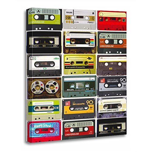 "TORASS Canvas Wall Art Print Music Cassette Crazy Retro Vintage 90S 80S Artwork for Home Decor 12"" x 16"""