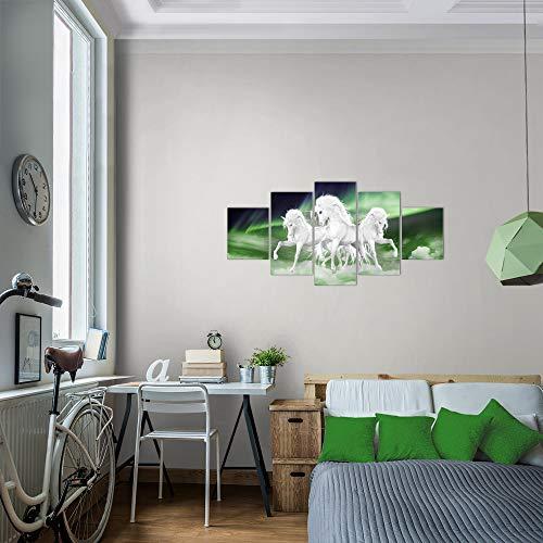 Bilder-Einhorn-Wandbild-100-x-50-cm-Vlies-Leinwand-Bild-XXL-Format-Wandbilder-Wohnzimmer-Wohnung-Deko-Kunstdrucke-Grn-5-Teilig-MADE-IN-GERMANY-Fertig-zum-Aufhngen-022852a