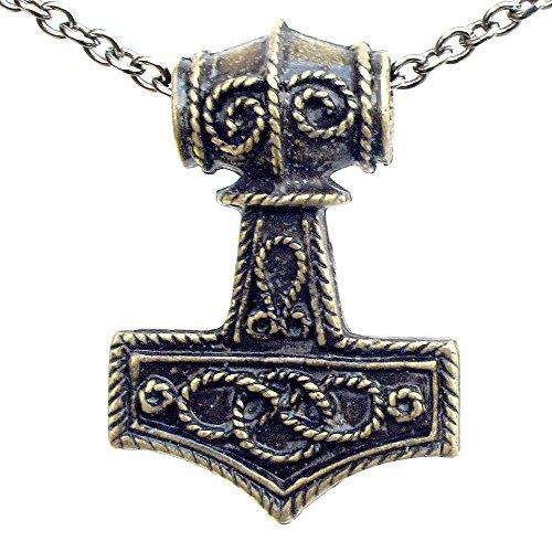 Celtic infinity knot Mjölnir Thor's Hammer Charm Amulet Silver Brass Pendant (Stainless Steel Chain) (Celtic Pendant Brass)