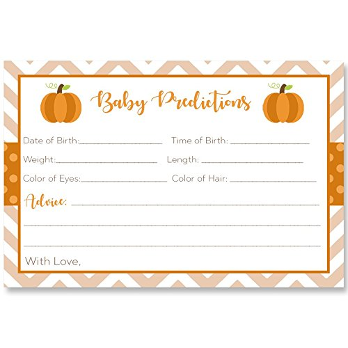 Predictions For Baby, Chevron Little Pumpkin, White, Orange, Brown, Green, Polka Dots, Chevron Stripes, Fall Baby, Autumn, Pumpkin Baby Shower, 24 Printed Cards ()