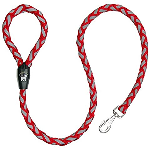 Protecta Pup Reflective Dog Leash - The Safer Dog Walking and Training Leash - Red 4-Foot
