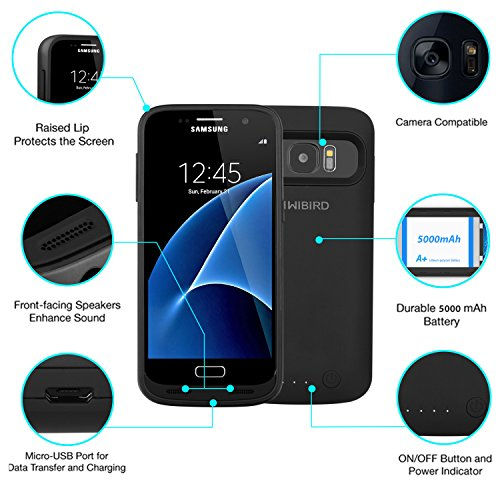 meet 2018 shoes high fashion KiWiBiRD 5000mAh Slim Samsung Galaxy S7 Battery Case / Battery Pack Charger  / Power Case with 120%+ Extra Battery Power for Galaxy S7 (Not For S7 ...