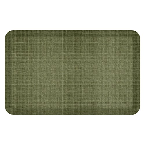 "NewLife by GelPro Anti-Fatigue Designer Comfort Kitchen Floor Mat, 20x32"", Tweed Green Valley Stain Resistant Surface with 3/4"" Thick Ergo-foam Core for Health and Wellness - Green Thick Mat"