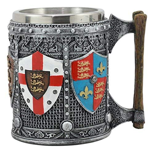(Ebros Large Medieval Coat Of Arms English Heraldry Tankard Mug 16oz Kingdom Of England Lion Heart Crest Beer Stein Tankard Coffee Cup)