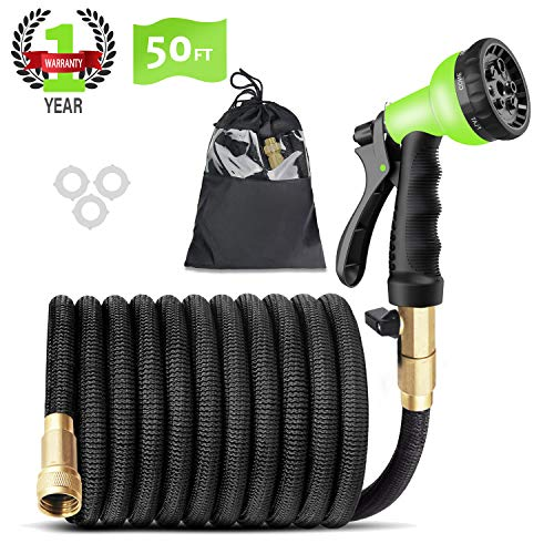 CINBOS Expandable Garden Hose 50ft – Strongest Flexible Water Hose with Triple Latex Core+On/Off Valve+3/4″ Connector