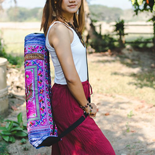 36ed6eafeb99 Amazon.com   changnoi Handmade Ethnic Yoga Mat Bag with Hmong Hill Tribe  Embroidered Fabric (Floral Purple)   Sports   Outdoors