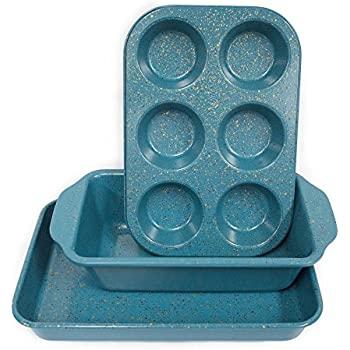 casaWare Toaster Oven 3-Piece Set (Blue - Granite)