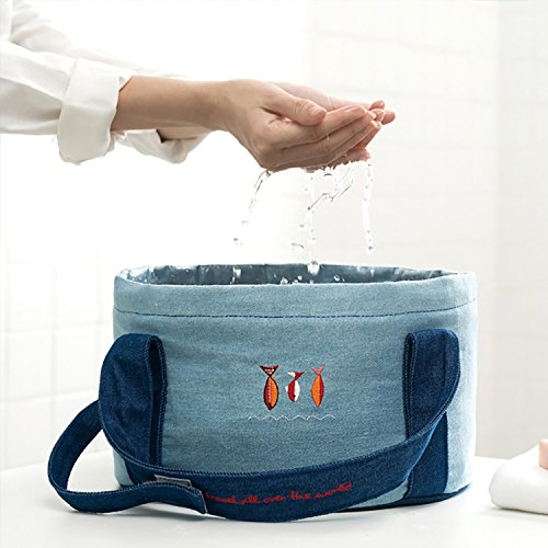 Folding Travel Foot Soak Tub Bath Wash Basin by YUNLOY Trips Outdoor Camping Hiking Dishpan Collecting Water Bucket Bag Denim Travel Foot Rest Accessories Light Weight Portable Easy to Fold - List To Things Camping Bring Of