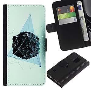 SAMSUNG Galaxy S5 V / i9600 / SM-G900 Modelo colorido cuero carpeta tirón caso cubierta piel Holster Funda protección - Polygon Blue Pattern Vivid