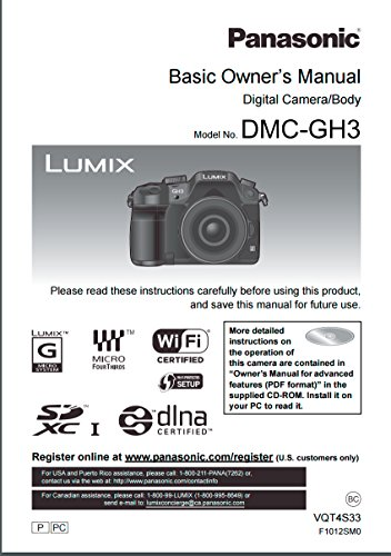 Price comparison product image Panasonic Lumix DMC-GH3 Instruction Booklet - Original English Owner User Operation Manual (Printed)