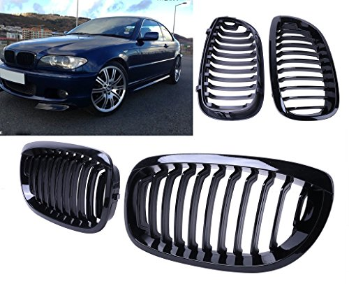 Price comparison product image General Mega Gloss Black Kidney Front Grille Grill Hood Nose for BMW E46 2Door Coupe 2004-2006