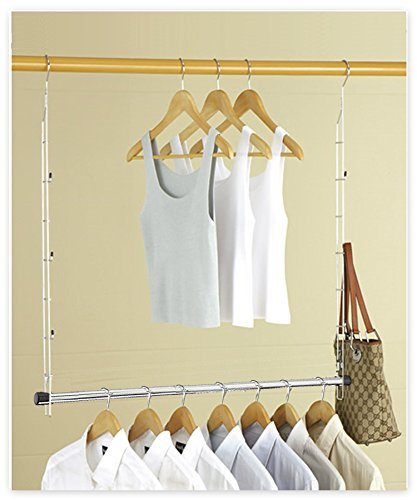Boottique Heavy Duty ADJUSTABLE Closet Doubler - Closet Rod Hanger Doubles Closet Space and now STORES ACCESSORIES- purses, handbags, scarves (Closet Hang Double)