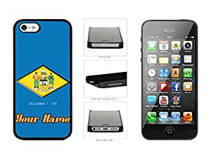 Delaware State Flag With Custom Name Plastic Phone Case Back Cover For Apple iPhone 5 5S comes with Security Tag and myPhone Designs(TM) Cleaning Cloth