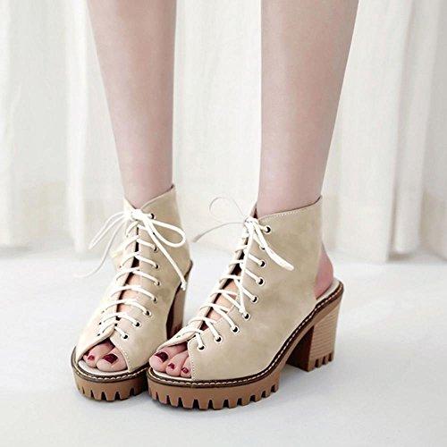 Zapatos beige con cordones de punta abierta para mujer G8oqwS