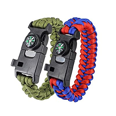 6 in 1 Militay Paracord bracelet 500LB Outdoor Survival Hiking Travelling Camping Gear Kit with Flint Fire Starter , compass, survival whistle, T-shaped knife,Fishing Tools