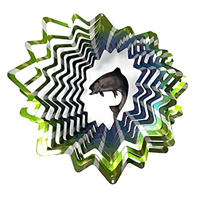 WorldaWhirl Whirligig 3D Wind Spinner Hand Painted Stainless Steel Twister Trout Fish (6.5 Inch, Multi Color) : Garden & Outdoor