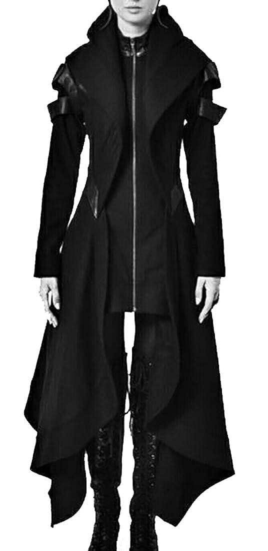JXG Women Goth Medieval Renaissance Hooded Irregular Hem Trench Coat