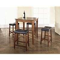 Crosley 5-Piece Pub Dining Set with Cabriole Leg and Upholstered Saddle Stools, Classic Cherry Finish