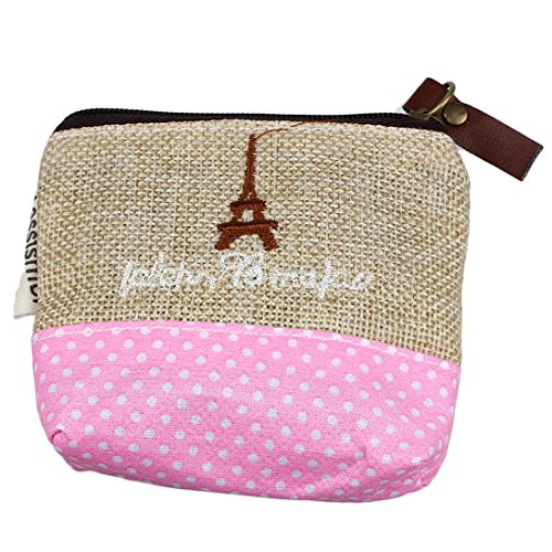Zipped Coin Pocket (Wallet,toraway Small Canvas Purse Zipped Wallet Lady Coin Pockets Cluth Bags Handbag Key Holder (Beige))