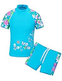 TFJH E Toddler Girls Long Sleeve Swimwear 2pcs Sun Protection UPF 50+ Swimming Custumes Flower, Blue Short 8A
