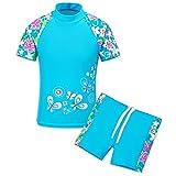 TFJH E Kids Girls Two Piece UPF 50+ UV Swimsuit Blue Short 8A