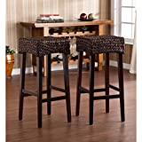 Southern Enterprises Water Hyacinth 30'' Barstools Set of 2, Deep Chocolate Brown Finish