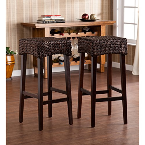 Southern Enterprises Water Hyacinth 30'' Barstools Set of 2, Deep Chocolate Brown Finish by SEI