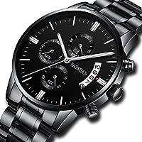 [Patrocinado] Men's Watches Sports Military Quartz Wristwatches Waterproof Chronograph Stainless Steel Band Black