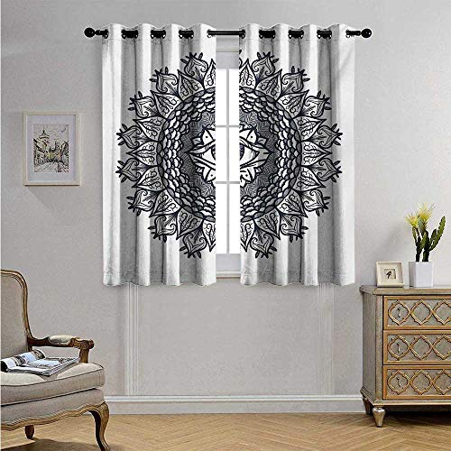 Light Leaf Providence Ceiling - OccultCustomizedCurtainsVintage Symmetrical Circular Occult Pattern Knowledge of The Hidden Third Eye Providence Blackout Drapes W63 x L63(160cm x 160cm) Grey