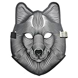 Unpara Halloween LED Mask Party Version Sound Reactive Dance Rave Light Up Adjustable Mask (D)
