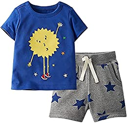 Baby and Little Boys Summer 2 Pieces Cotton Short Sleeve T-Shirts and Shorts Set Outfit