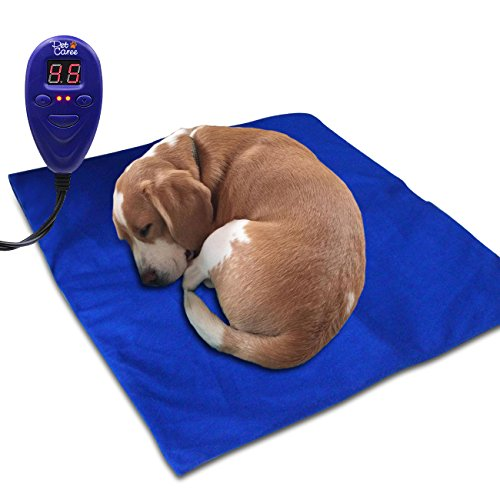 Heating Pads for Pets - Electric Heating Pad for Dogs &Cats Warming Dog Beds Pet Mat with Chew Resistant Cord Soft Removable Cover (Blue)