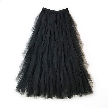 Color : Beige VYNOPA SKIRT Falda de Encaje de la l/ínea de una l/ínea de Princesa en Capas de la Hoja de Loto Costura en Niveles de Tul en Capas Falda Midi Moda Casual Maxi Falda