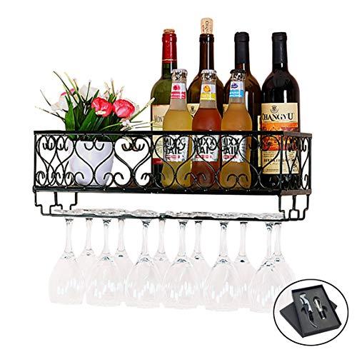 Wall Mounted Wine Bottle - HOMEPOPULAR Metal Wall Mounted Wine Rack with Glass Holder and Bottles Opener Wine Bottle Holder for Living Room Or Kitchen,Black (Hold 12 Bottles)