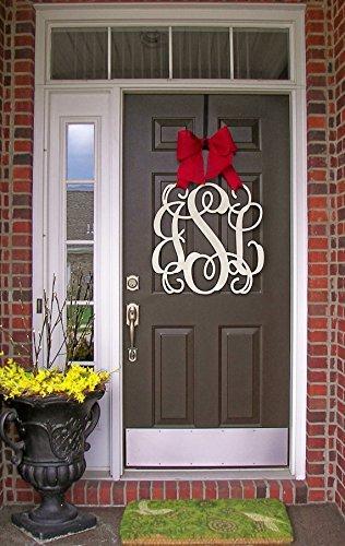 Custom Monogram Letter Wooden Door Hanger Wreath