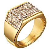 Mens Wedding Bands Vintage 316L Stainless Steel Gold Engagement Rings High Polished Finish Comfort Fit Size 7-12