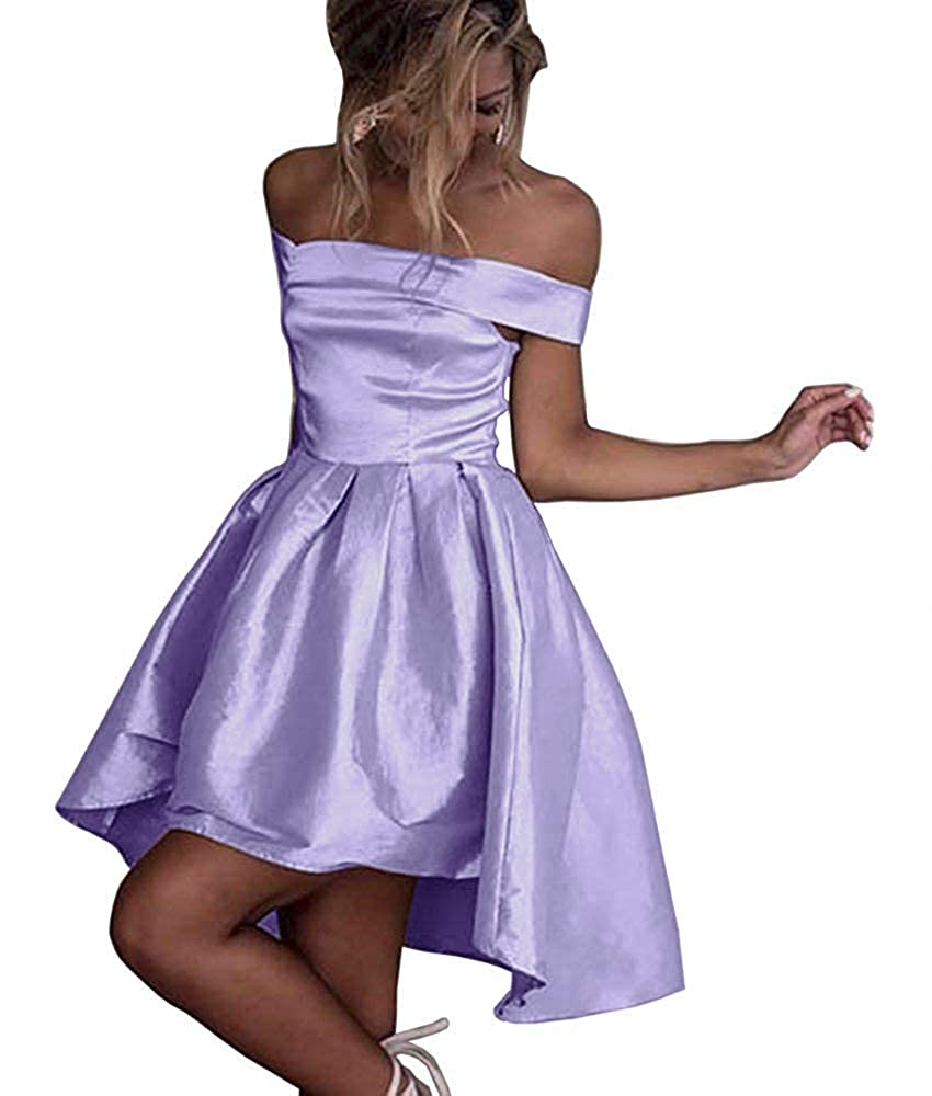 Lavender Dressylady Champagne OffShoulder High Low Prom Party Homecoming Dress