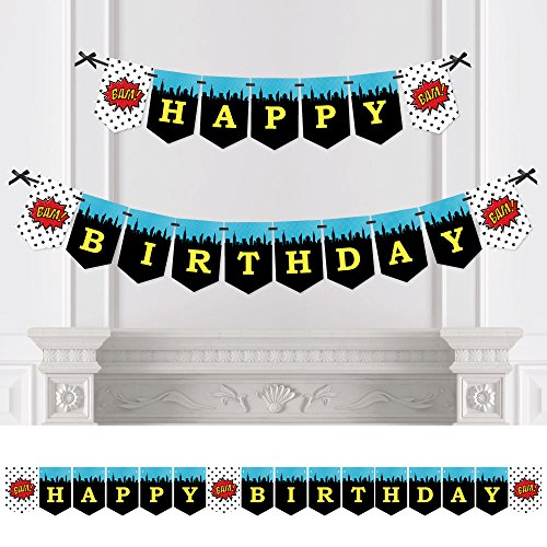 BAM! Superhero - Birthday Party Bunting Banner - Comic Book Party Decorations - Happy Birthday -