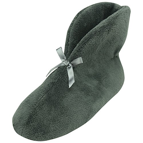 Shoes Casual Down Booties (Forfoot Women's Winter Warm Coral Fleece Soft Indoor House Anti-Slip Boot Slippers for Christmas Dark Grey US 6)