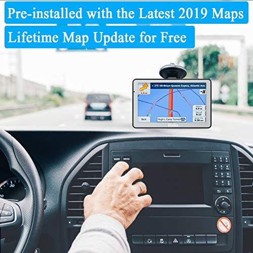 Hieha GPS Navigation Systems for Car Truck RV Vehicles 7 Inches 8GB 256Mb Navigation Device HD Touch Screen Navigation with Preloaded US CA MX Maps and Back Bracket, Lifetime Free Map Updates