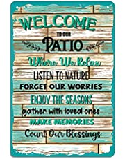 """WHATSIGN Funny Home Wall Patio Decor 12""""x8"""" Welcome to Our Patio Sign Wall Decor,Farmhouse Sign Plaque for Home Decor,Funny Patio Wall Art for Indoor,Outdoor,Rustic,Bar,Coffee,Garden Wall Decoration"""