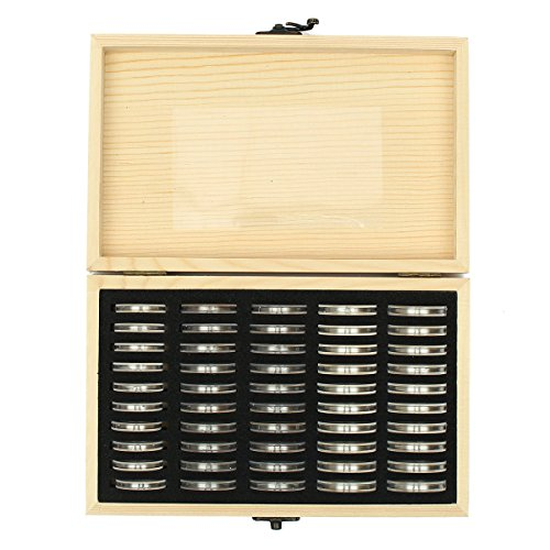 - Wood Coins Display Storage Box for Slab Certified Coin with 50Pcs Capsules